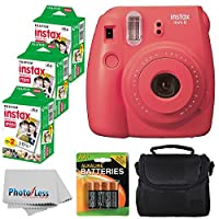 Fujifilm Instax Mini 8 Instant Film Camera (Raspberry) With Fujifilm Instax Mini 6 Pack Instant Film (60 Shots) + Compact Bag Case + Batteries Top Kit - International Version (No Warranty)