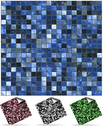 2 mitternachtsblau selbstklebende mosaikwandfliesen zum aufkleben in der gr e von 10x10cm. Black Bedroom Furniture Sets. Home Design Ideas