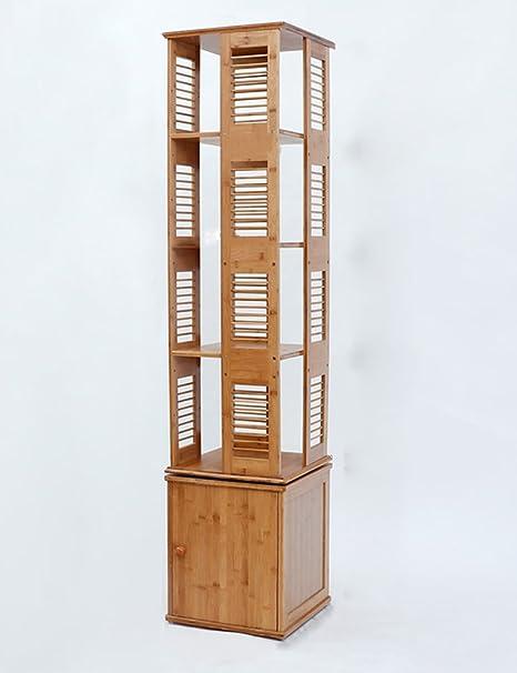TH Libreria in legno massello con lo sportello degli armadietti di bambù semplici Creative Rotate Bookshelf ( dimensioni : 5 tier )