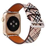 38/40mm Leather Watch Band for Apple Watch Series 1 2 3 4 Plaid Strap for iwatch Belt Wristwatch Bracelet. (Plaid 1-38/40) (Color: Plaid 1-38/40)
