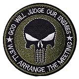 (ガンフリーク) GUN FREAK ミリタリー パッチ ワッペン god will judge our enemies 刺繍 サバゲー ( オリーブドラブ )