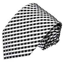Lorenzo Cana - Luxury Italian 100% Silk Tie White Black Silver Checks Handmade Necktie - 77021