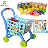 GREEN FROG SHOPPING CART TOY WITH FRUITS & VEGETABLES FOR KIDS 29 PCS