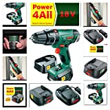 BOSCH 18V CORDLESS COMBI HAMMER DRILL PSB1800 LI2 LATEST MODEL REPLACING OLDER VERSION PSB18 LI2 COMPLETE KIT WITH 2 LI-ION BATTERIES, FAST CHARGER AND CARRY CASE   121 MIXED DRILL & SCREW DRIVER ACCESSORIES IN HARD CARRYING CASE *HOLYWELL TOOLS*