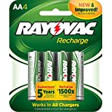 Rayovac Recharge Rechargeable 1350 mAh NiMH AA Pre-Charged Battery, 4-pack (LD715-4OP)