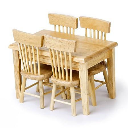 Ensemble de 5pcs Modèles Table à Manger et Chaises Miniatures pour 1:12 Maison de Poupée - Couleur de Bois