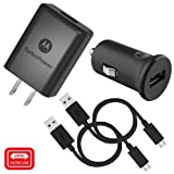 Motorola TurboPower Micro-USB Car + Home Bundle: TurboPower 15 Car & TurboPower 15+ Wall Charger with 2 SKN6461A Data Cables for Moto E5 Plus, G5 Plus, G5S, G6 Play [Not for G6, G6 Plus] (Retail Box) (Color: Black, Tamaño: 15W)