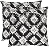 Safavieh Pillow Collection Essex Nights 22-Inch Decorative Pillows, Black and White, Set of 2