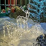 """3-Piece Lighted Holiday Deer Family - Animated Buck - 40"""" Buck, 23"""" Doe & 16"""" Fawn - 250 Clear Lights"""
