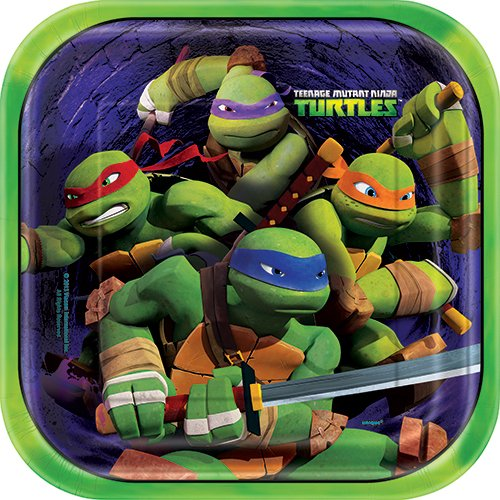 Square Teenage Mutant Ninja Turtles Dinner Plates, 8ct - 1