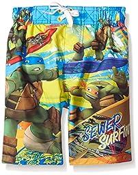 Nickelodeon Boys\' TMNT Surfing Trunk, Blue/Yellow, 5/6