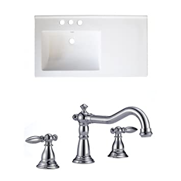 "Jade Bath JB-15894 34"" W x 18"" D Ceramic Top Set with 8"" o.c. CUPC Faucet, White"