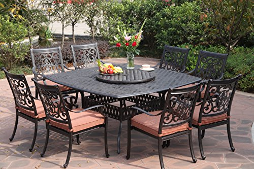 Darlee St. Cruz Cast Aluminum 10-Piece Dining Set with Seat Cushions, 64-Inch Square Dining Table and 30-Inch Lazy Susan, Antique Bronze Finish (Cast Aluminum Patio Table compare prices)