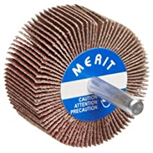 Merit Super Finish Mandrel Mounted Mini Grind-O-Flex Abrasive Flap Wheel, Round Shank, Ceramic Aluminum Oxide