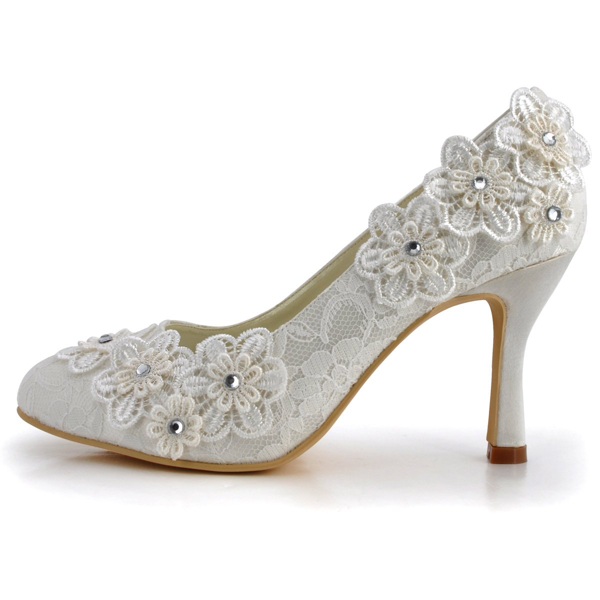 ElegantPark Women Vintage Closed Toe Pumps High Heel Flowers Lace Wedding Bridal Dress Shoes 1