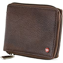 Alpine Swiss Zippered Bifold Men\'s Wallet with Deluxe Credit Card Flip Genuine Leather Antique Brown