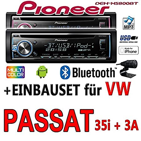 VW Passat 3A + 35i - Pioneer DEH-X5800BT - CD/MP3/USB Bluetooth Autoradio - Einbauset