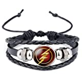 The Flash Glass Domed Logo on Braided Black Leather Bracelet