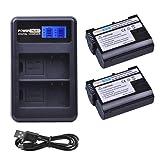 PowerTrust 2-Pack EN-EL15 Rechargeable Battery LCD Dual USB Charger Nikon D500, D600, D610, D750, D7000, D7100, D7200, D800, D800E, D810 Camera