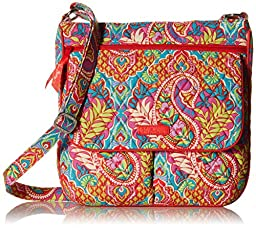 Vera Bradley Double Zip Mail Messenger Bag, Paisley In Paradise, One Size