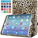 MoKo Apple iPad Air Case - Slim Folding Case for Apple iPad 5 / iPad Air (5th Gen) Tablet, Leopard BROWN (With Smart Cover Auto Wake / Sleep)