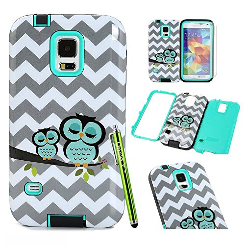 Galaxy S5 Case,S5 Case,&Uncle.Y Cute Owl Hybrid TPU Silicone Soft + PC Hard Plastic Bumper Back Protective Skin Case for Samsung Galaxy S5 I9600 Green (Cute Protective S5 Case compare prices)