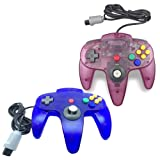 Pomilan 2 Packs Classic Retro Wired Controllers For Nintendo 64 (Clear Blue and Clear purple)