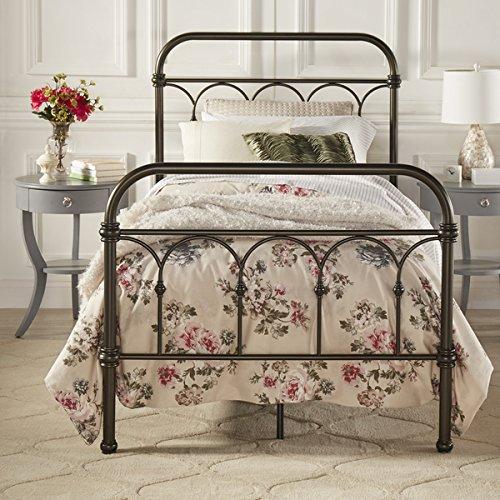 Vintage Metal Bed Frame Antique Rustic Dark Bronze Cast Knot Headboard Footboard Retro Country Bedroom Furniture (Queen) 5