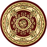 Safavieh Lyndhurst Collection LNH218C Red and Ivory Round Area Rug, 8 feet in Diameter (8' Diameter)