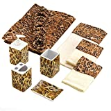 Bathroom Accessory Set Leopard Wild Animal Jungle Print Safari Shower Curtain