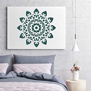 Stencils | Mandala Painting Stencil | Stencils for Painting (12x12 inch Large Size) on Wood/Wall/Floor/Tile/Fabric/Furniture Decor | Mandala Dotting Tools Reusable by AK KYC (Color: # 1)