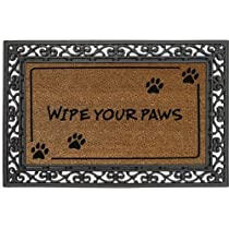 Wipe Your PawsCoir Floormat With Black Rubber Base28x16 Inches