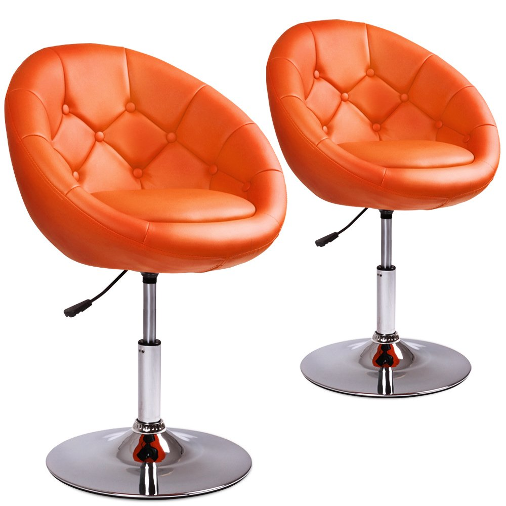 Retro Bar Stools 2 Set Orange Leather Swivel Modern Chair