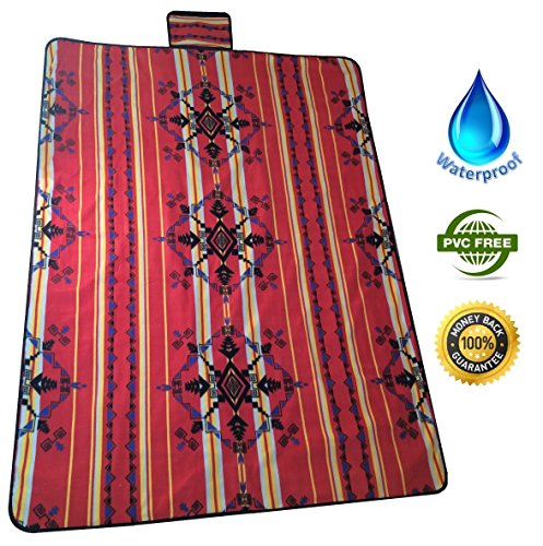 Buy Bargain Waterproof Picnic Blanket- lightweight – Best for Outdoors – Use for picnics, camping, at the beach, stadium, little league, tailgating, holidays, vacation – Emergency Blanket – Store It in the Car – Makes Great Gift – Stylish Native Geometric Design – XL Extra Large Size – Free Space – Red – Protect Your Investment – Happiness Guaranteed