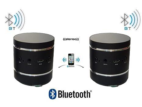 Lot 2 Enceintes Vibrantes Bluetooth Adin 20 W Stéreo Haut Parleur sans fil vibration speaker 10 W pour Iphone et autres appareils Noir B2BT-K