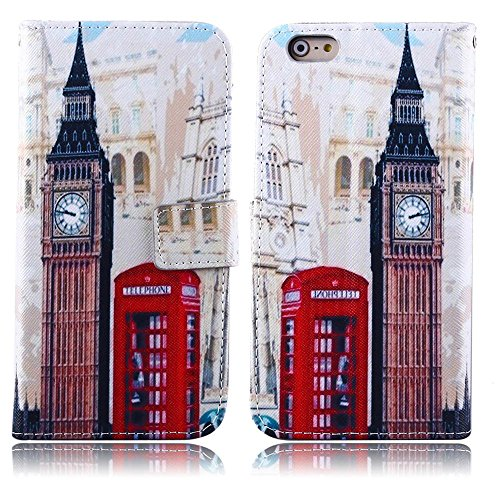 TOMYOU iPhone 6 plus Case, Stylish Patterned Flip Leather Wallet, Stand (Bracket) and Card Holder (Cards Clip) (Soft Rubber TPU) Phone Case Cover Skin Shell for Apple iPhone 6 plus (5.5 inch) (British style) (Iphone 6 Plus Case British compare prices)