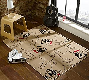Flair Rugs Retro Funky Pug Rug, Beige/Red, 120 x 160 Cm from Flair Rugs