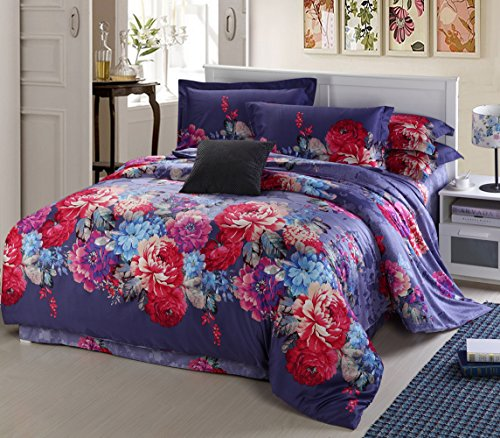 Home Feeling Long-Staple Cotton Sateen Series Colorful Peony 60S Sea Island Cotton Quilt Cover & Flat Sheet & Pillowcase