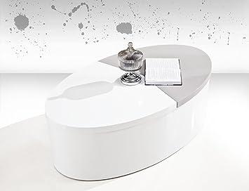 Couchtisch Dakoro 01, Farbe: Weiß Hochglanz / Grau Hochglanz - Abmessungen: 38 x 120 x 70 cm (H x B x T)