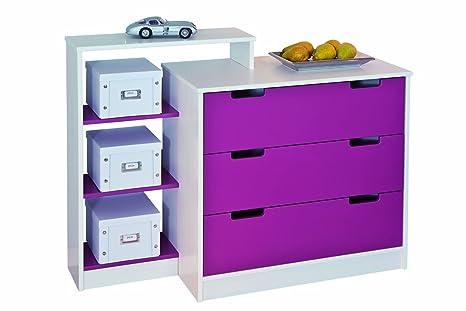 Links 20701010 Kommode Spielzeugkiste Kinderschrank Schlafzimmerschrank beschreibbar lila NEU