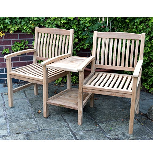 Charles Bentley Garden Teak Wooden Companion Seat Set Love Seat Jack and Jill Bench