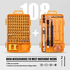 Screwdriver Set Repair Tool Kit - 108 in 1 Small Multi Screw Driver Bits Set Magnetic Mini Precision Screwdriver for Iphone,Watch,Electric,Eyeglass,La