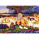 "Dolls Of India ""Krishna Mesmerising People And Cows Of Vrindavan By His Flute"" Reprint On Paper - Unframed (43.18..."