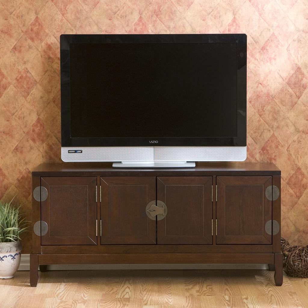 Sei dynasty espresso media cabinet for Tv media storage cabinet