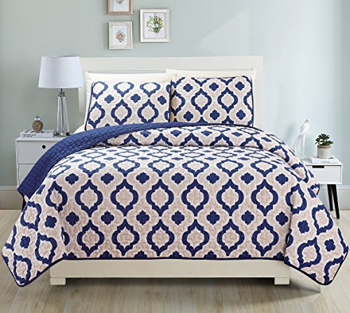 Fancy Collection 3pc Bedspread Bed Cover Revirsable Beige White Navy blue New#68 (California King) (Blue Quilt California King compare prices)