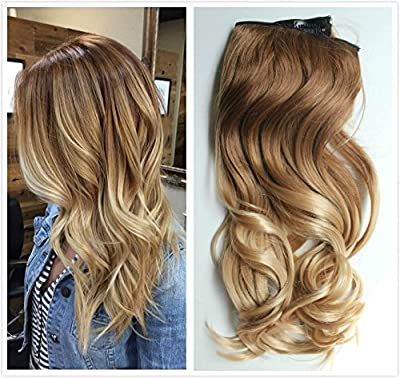 Clip in Hair Extensions Ombre 2 Tones (Natural black to Sliver Grey)