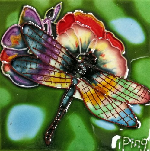 Continental Art Center SD-052 4 by 4-Inch Dragonfly Ceramic Art Tile
