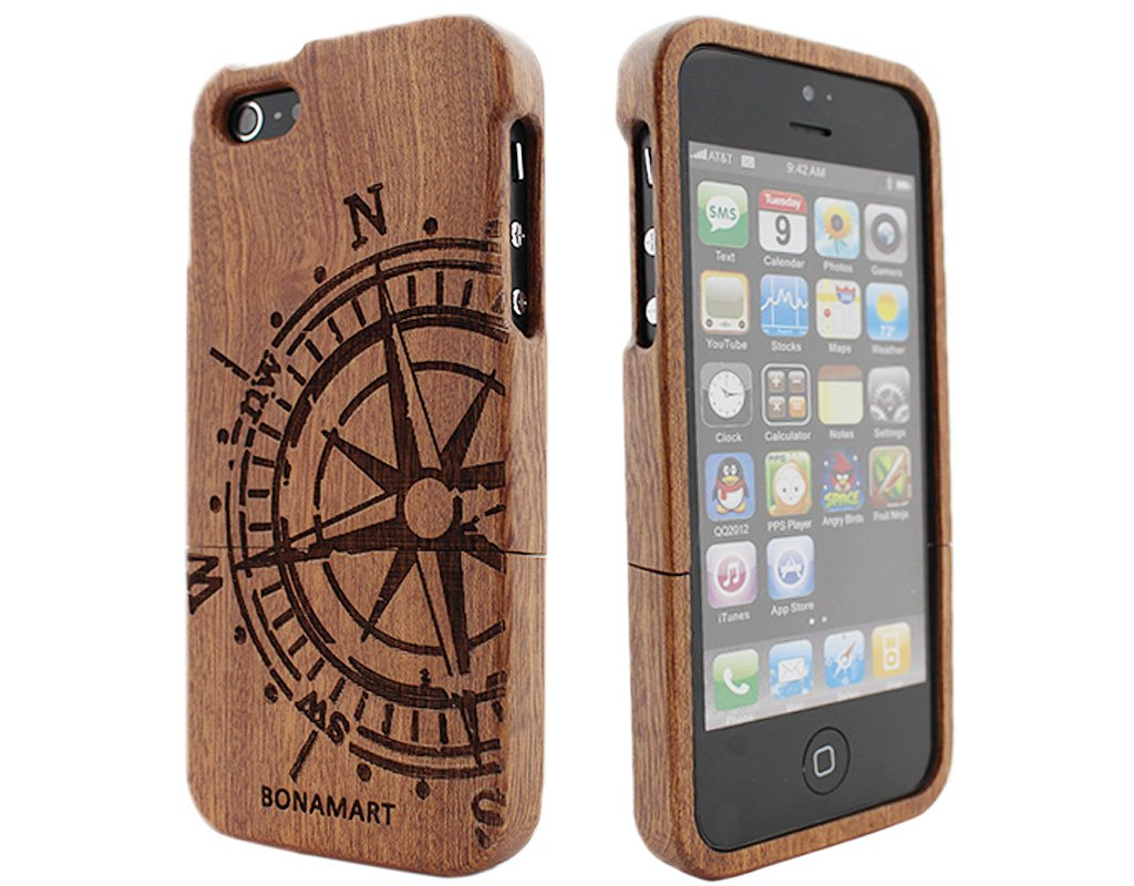 BONAMART ® natural bambú madera de madera duro caso cubrir carcasa Case funda Case para iPhone 5 G 5G 5S  Electrónica revisión y más información