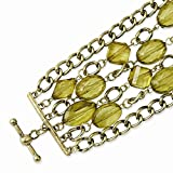 Jewelry Best Seller Brass-tone Green Acrylic Beads 8in Toggle Bracelet