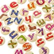 Souarts Mixte Rond Lettre Alphabet Imprime 2 Trous Boutons en Bois Motif Aleatoire Lot de 200pcs